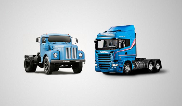 caminhão velho e caminhão novo